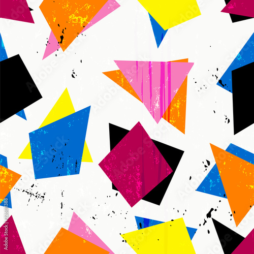 abstract geometric nineteen eighties style background pattern, with triangles, paint strokes and splashes