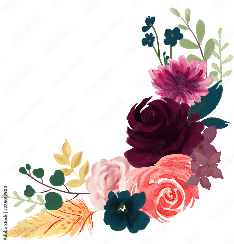 watercolor flora bohemian vintage rose peony abstract flower arrangement and leaf  with feather  hand paint