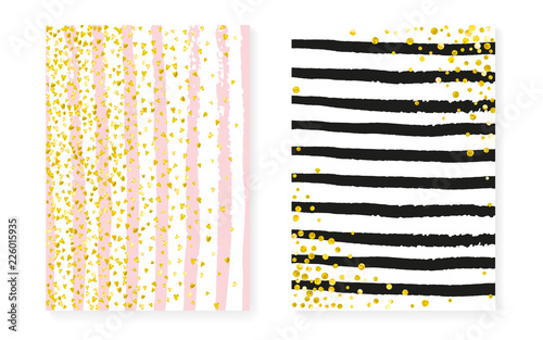 Canvas Print Gold glitter confetti with dots and sequins