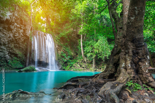 Recess Fitting Waterfalls Erawan waterfall in tropical forest of national park, Thailand