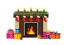 New Year's Traditional Fireplace. Christmas Brown Brick Fireplace With Such Decorations As Socks Of A Candle Spruce Branches, Garland And Gifts. Isolated Vector Illustration