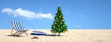 Weihnachtsbaum Am Strand Im Ur...