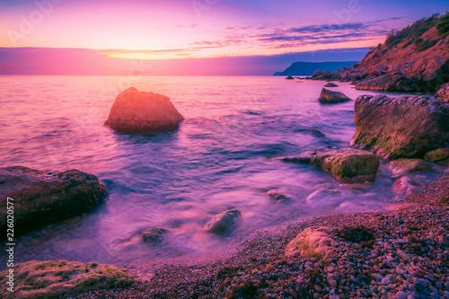 Deurstickers Lichtroze Sunset sea landscape. Scenic seascape nature