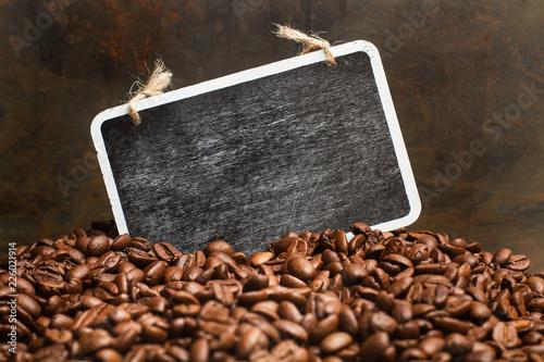 Deurstickers koffiebar Granos de café y pizarra