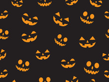 Vector Seamless Pattern With Faces Pumpkin Devil In The Dark Background -  Halloween Pattern Background