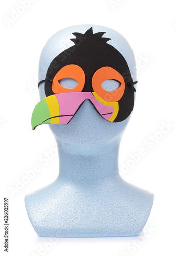 Fotografia, Obraz  animal carnival mask with mannequin head isolated on white background