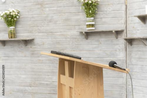Fotografía Wooden pulpit for the preacher