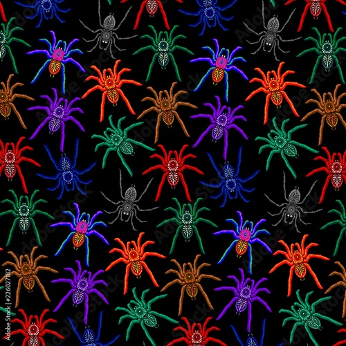 Spoed Foto op Canvas Draw Spiders Pattern Colorful Tarantulas on Balck Background
