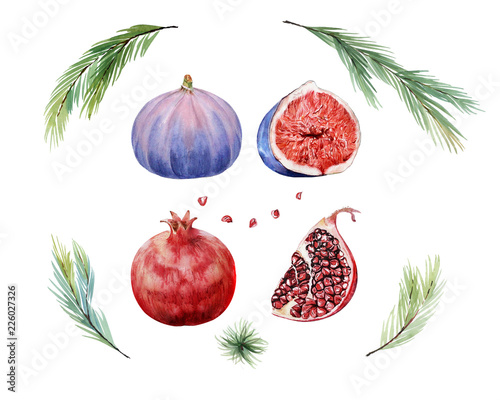 Watecolor Set With Christmas Tree Pomegranate Seeds And Figs