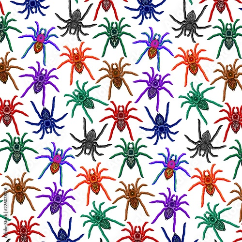 Spoed Foto op Canvas Draw Spiders Pattern Colorful Tarantulas