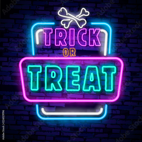 Halloween neon sign vector. Trick or treat Halloween Design template with ghost and web for banner, poster, greeting card, party invitation, light banner.