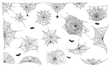 Spider Web Set On White Backgr...