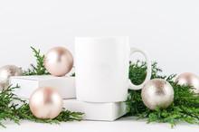 White Christmas Mug Mock Up