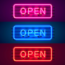 Neon Sign With Text Open, Entrance Is Available Color Set. Vector Illustration