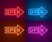 Neon Arrow Sign With Text Open...