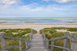 canvas print picture - Stairs to the North Sea beach at Blankenberge, Belgium