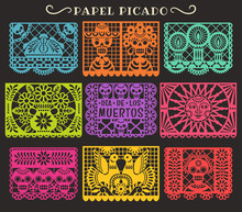 Day Of The Dead. Papel Picado. Vector Collection Of Traditional Mexican Paper Cutting Templates. Isolated On Black Background.