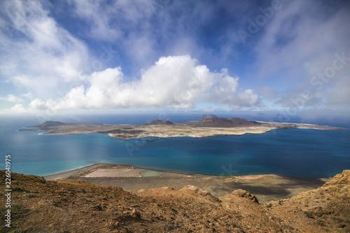 Printed kitchen splashbacks Canary Islands spectacular View from Lanzarote to La Graciosa Island, Canary Islands