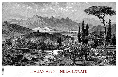 Engraving depicting a scenic landscape of Italian Apennines