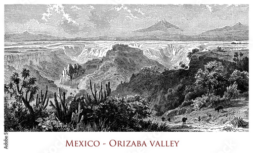 Poster Blanc Engraving depicting a view of the Orizaba Valley - Mexico
