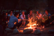 canvas print picture - young friends relaxing around campfire