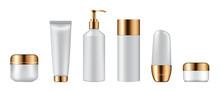 Set Of Cosmetic Bottles On White Background