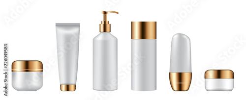 Fotografía  Set of cosmetic bottles on white background