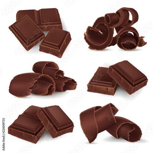 Carta da parati Set of broken chocolate bars and shavings