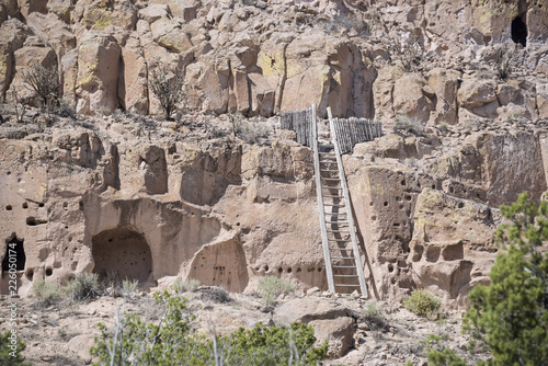 Fotografie, Obraz  Puye Cliff Dwellings with traditional wooden ladder are runes where ancient pueb