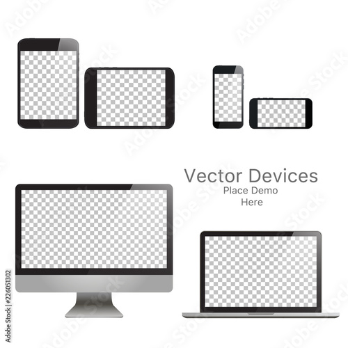 Photo  Set realistic vector devices on a white background