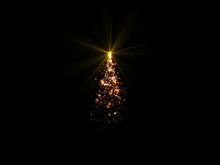 Magic Christmas Tree Lights On Black Background For Overlays With Copy Space.