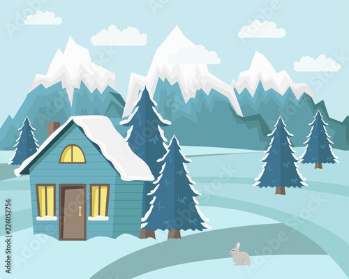 Tuinposter Lichtblauw Winter mountain landscape background. Flat Vector Illustration. Country house witn fir-trees. Blue colors.