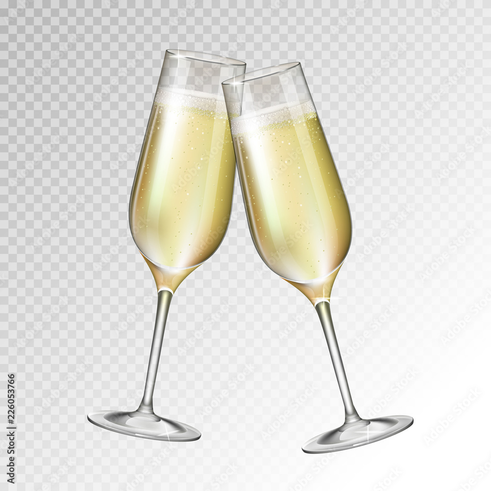 Fototapety, obrazy: Realistic vector illustration of champagne glass isolated on transperent background