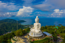 Areial View White Cloud In Blue Sky At Phuket Big Buddha. .Phuket Big Buddha Is One Of The Island Most Important And Revered Landmarks On The Island.