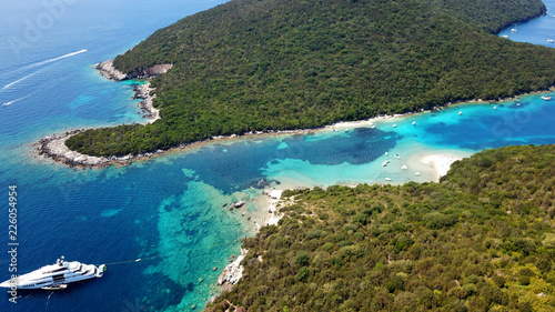 Garden Poster Cathedral Cove Aerial drone bird's eye view photo of iconic paradise sandy beaches with turquoise sea in complex islands of Agios Nikolaos and Mourtos in Sivota area, Ionian sea, Epirus, Greece