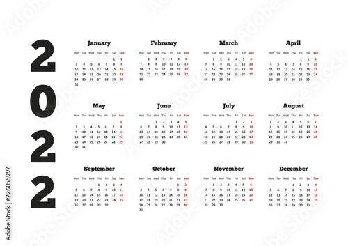 Photo  Calendar on 2022 year with week starting from monday, A4 sheet