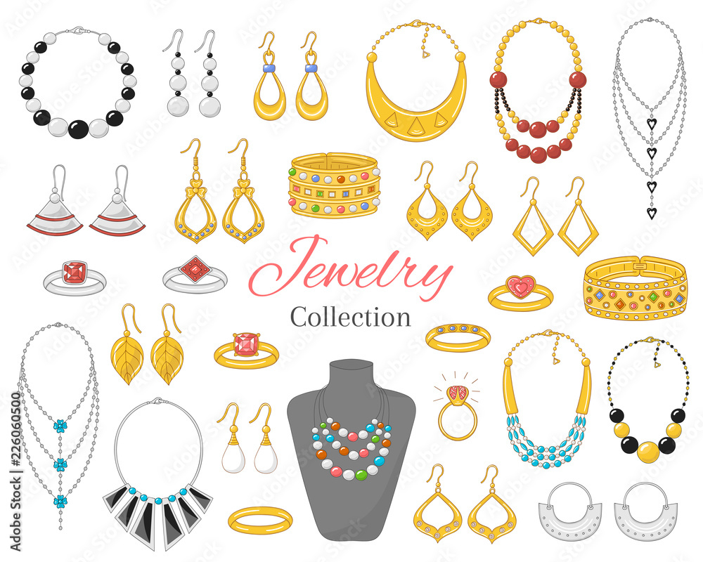 Fototapeta Fashionable jewelry collection, vector illustration.