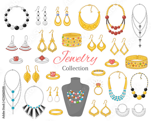 Fashionable jewelry collection, vector illustration. Fototapete