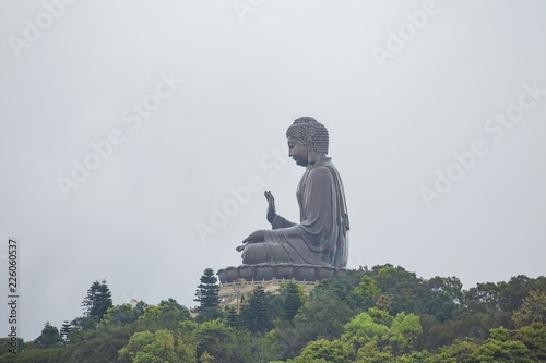 Tuinposter Boeddha Giant Buddha Po Lin Monastery is a Buddhist monastery, located on Ngong Ping Plateau in Hong Kong