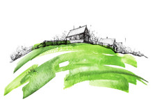 Countryside Landscape. Illustration Of Watercolors And Black Mascara. Abstract Green Splash Of Paint. Silhouettes The Village. Watercolor Logo, Postcard On A White Background.Forest Landscape