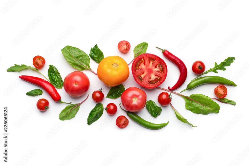 Kreatywnie warzywo sztuki skład na białym tle