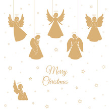 Golden Christmas Angels With Wings And Nimbus
