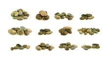 Pile Of A Different Stones And Pebbles Isolated On White Background. - Collection.