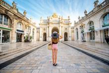 Woman Traveling In Nancy, France