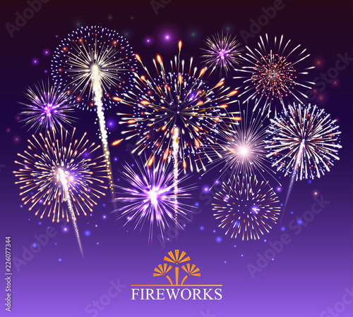 Fototapeta Set of fireworks, festive banner, invitation to a holiday