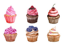 Watercolor Set Of Cupcakes Wit...