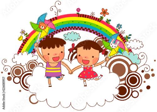 In de dag Regenboog Friends holding pinwheel with rainbow in background