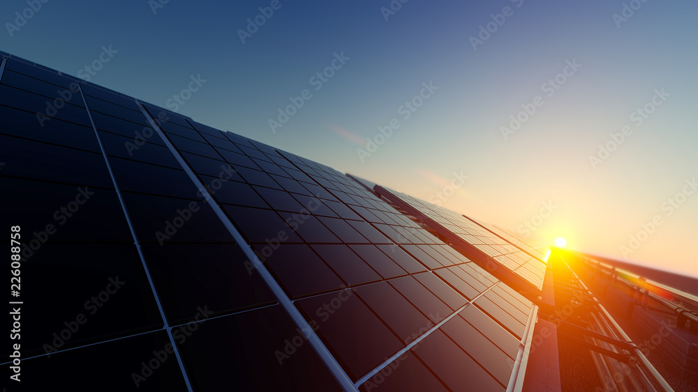 Fototapety, obrazy: Solar Panels in Dim Light 3d rendering