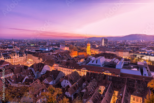 Aerial View of Graz City at sunset
