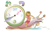 Woman Sitting On A Snail With ...